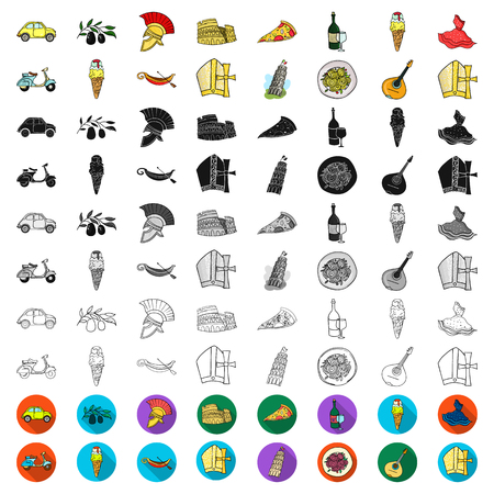 Country Italy cartoon icons in set collection for design. Italy and landmark vector symbol stock web illustration.