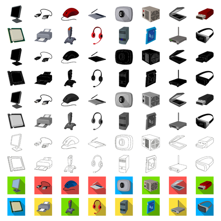 Personal computer cartoon icons in set collection for design. Equipment and accessories vector symbol stock web illustration.