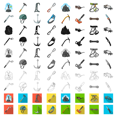 Mountaineering and climbing cartoon icons in set collection for design. Equipment and accessories vector symbol stock web illustration. Reklamní fotografie - 111074934