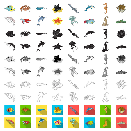 A variety of marine animals cartoon icons in set collection for design. Fish and shellfish vector symbol stock web illustration.
