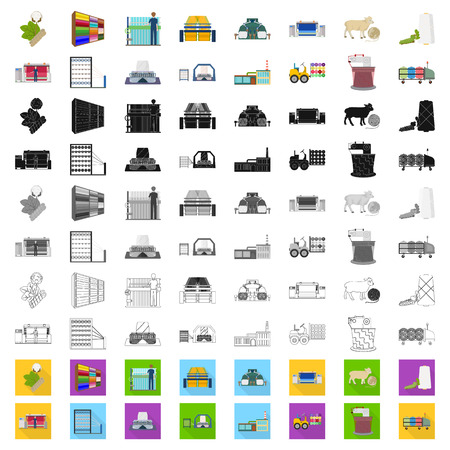 Textile industry cartoon icons in set collection for design.Textile equipment and fabrics vector symbol stock web illustration.
