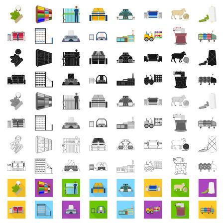 Textilindustriekarikaturikonen in der Satzsammlung für Design Textilausrüstung und Gewebe vector Symbolvorrat-Netzillustration.