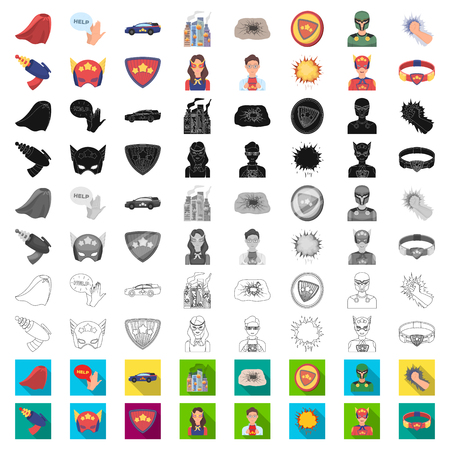 A fantastic superhero cartoon icons in set collection for design. Superhero equipment vector symbol stock web illustration.