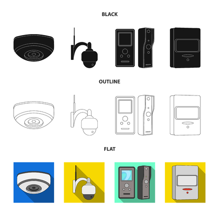 Vector design of cctv and camera icon. Collection of cctv and system vector icon for stock.