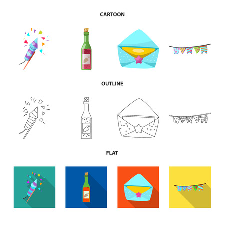 Vector design of party and birthday logo. Collection of party and celebration stock symbol for web. Ilustração