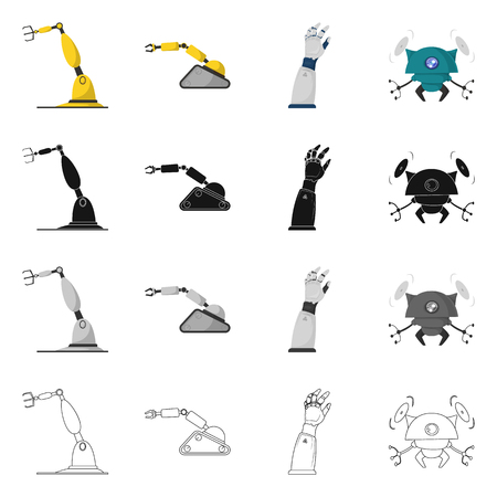Vector illustration of robot and factory icon. Set of robot and space stock vector illustration.