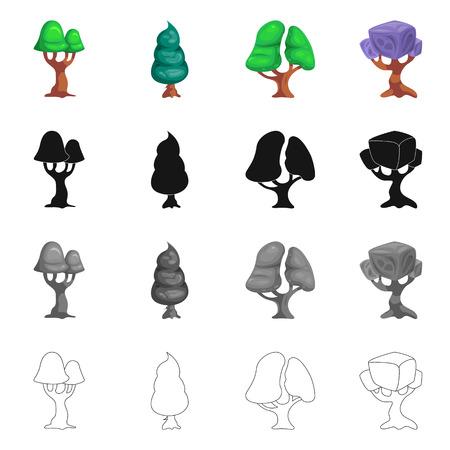 Vektorentwurf des Baumes und der Naturikone. Sammlung von Baum- und Kronenvektorsymbol für Lager.