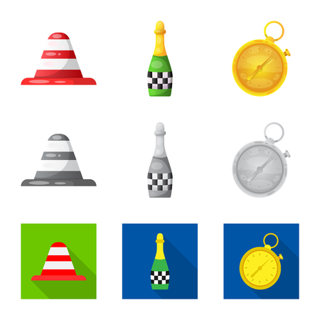 Isolated object of car and rally sign. Collection of car and race vector icon for stock.