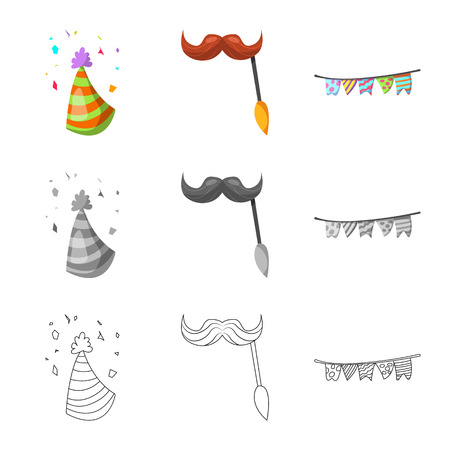 Isolated object of party and birthday icon. Set of party and celebration stock vector illustration.