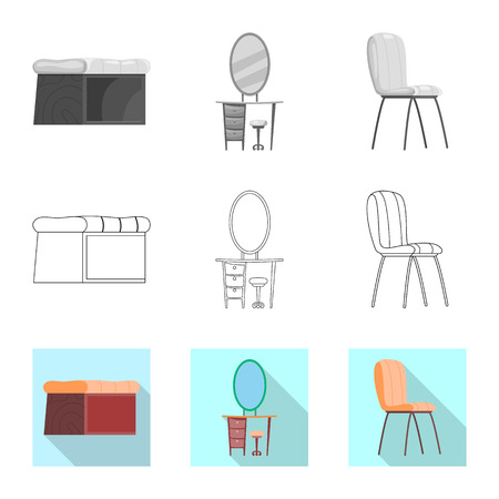 Isolated object of furniture and apartment sign. Set of furniture and home stock symbol for web. Ilustração