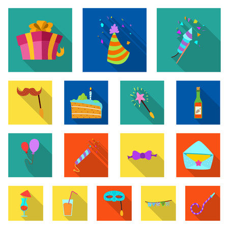 Isolated object of party and birthday symbol. Set of party and celebration vector icon for stock.