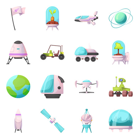 Vector illustration of mars and space icon. Set of mars and planet vector icon for stock. 일러스트