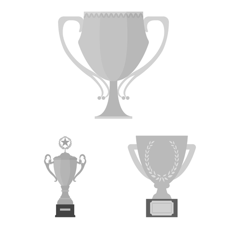 Gold Cup monochrome icons in set collection for design. Winners Cup bitmap symbol stock web illustration.