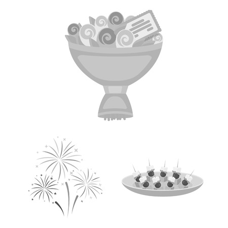 Event Organisation monochrome icons in set collection for design.Celebration and Attributes bitmap symbol stock web illustration. Banco de Imagens