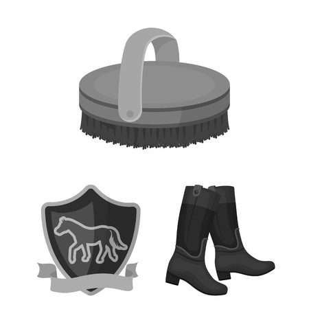 Hippodrome and horse monochrome icons in set collection for design. Horse Racing and Equipment bitmap symbol stock web illustration.