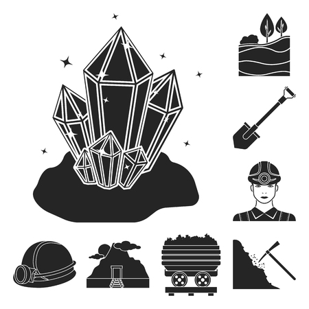 Mining industry black icons in set collection for design. Equipment and tools bitmap symbol stock web illustration. Archivio Fotografico