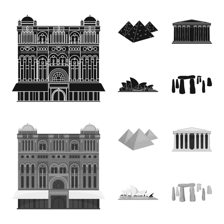 Sights of different countries black,monochrom icons in set collection for design. Famous building bitmap symbol stock web illustration.