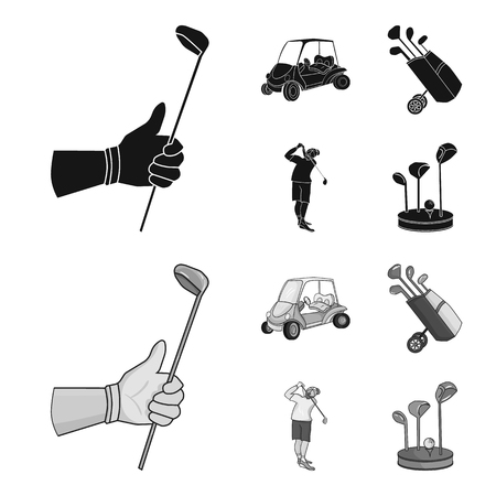 A gloved hand with a stick, a golf cart, a trolley bag with sticks in a bag, a man hammering with a stick. Golf Club set collection icons in black,monochrom style bitmap symbol stock illustration web.