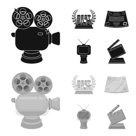 Silver camera. A bronze prize in the form of a TV and other types of prizes.Movie award,sset collection icons in black,monochrom style bitmap symbol stock illustration web.