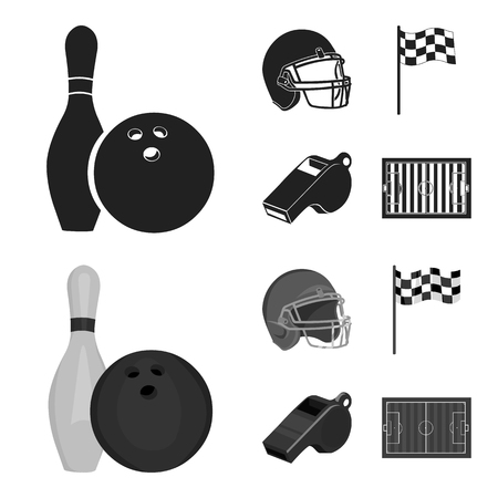 Bowl and bowling pin for bowling, protective helmet for playing baseball, checkbox, referee, whistle for coach or referee. Sport set collection icons in black,monochrom style bitmap symbol stock illustration web. Stock Photo