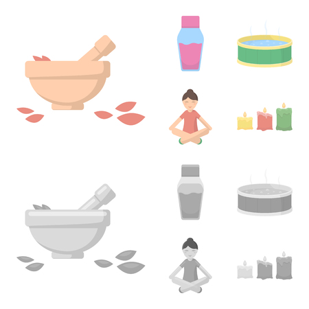 A bowl with flower petals and tolkushka, a bottle with ointment or cream, a pool with water, a woman in a yoga pose. Spa set collection icons in cartoon,monochrome style bitmap symbol stock illustration web.