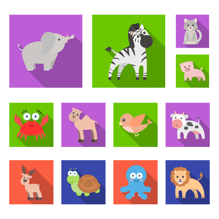 An unrealistic flat animal icons in set collection for design. Toy animals bitmap symbol stock web illustration.