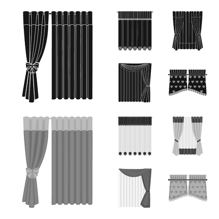 Curtains, drapes, garters, and other web icon in black,monochrom style. Textiles, furniture, bow icons in set collection. Foto de archivo