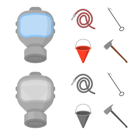 Gas mask, hose, bucket, bagore. Fire department set collection icons in cartoon,monochrome style bitmap symbol stock illustration web. Stock Photo