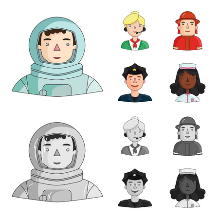 An astronaut in a spacesuit, a co-worker with a microphone, a fireman in a helmet, a policeman with a badge on his cap. People of different professions set collection icons in cartoon,monochrome style bitmap symbol stock illustration web.