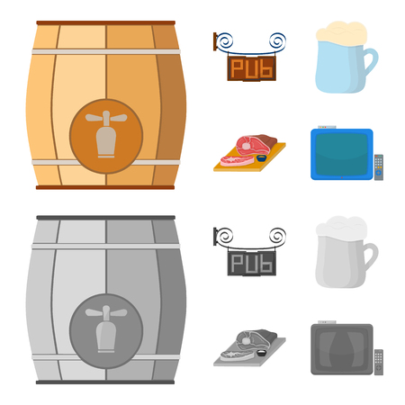 A wooden barrel with a faucet, a pub sign, a mug of beer, pieces of meat on a board.Pub set collection icons in cartoon,monochrome style bitmap symbol stock illustration web.