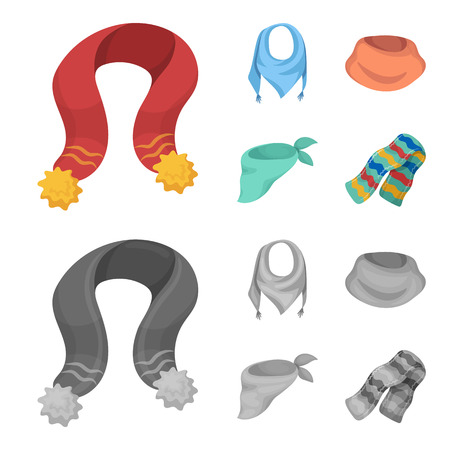 Various kinds of scarves, scarves and shawls. Scarves and shawls set collection icons in cartoon,monochrome style bitmap symbol stock illustration web.