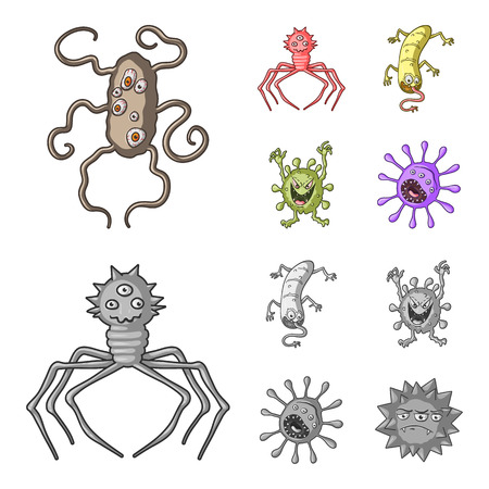 Different types of microbes and viruses. Viruses and bacteria set collection icons in cartoon,monochrome style bitmap symbol stock illustration web.