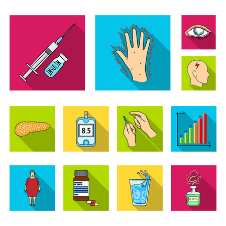 Diabetes flat icons in set collection for design. Treatment of diabetes bitmap symbol stock web illustration.