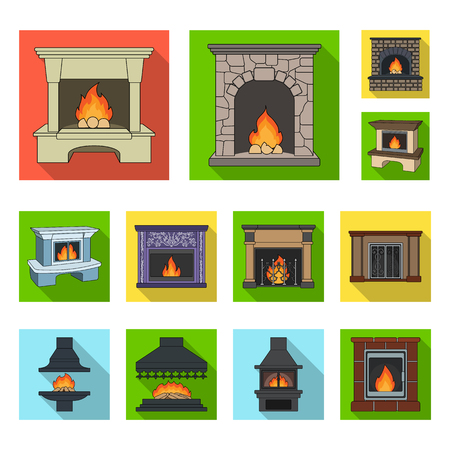 Different kinds of fireplaces flat icons in set collection for design.Fireplaces construction bitmap symbol stock web illustration.