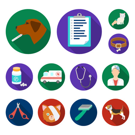 Veterinary clinic flat icons in set collection for design. Treatment of a pet bitmap symbol stock web illustration.