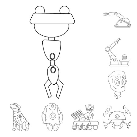 Vector illustration of robot and factory icon. Collection of robot and space stock vector illustration.