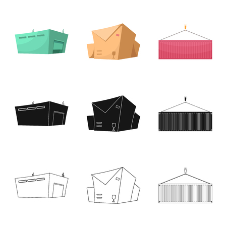 Vector illustration of goods and cargo logo. Set of goods and warehouse vector icon for stock.