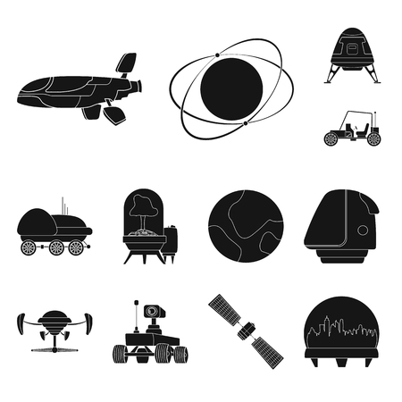 Vector design of mars and space logo. Set of mars and planet vector icon for stock. Иллюстрация