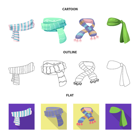 Isolated object of scarf and shawl logo. Set of scarf and accessory stock vector illustration. Иллюстрация
