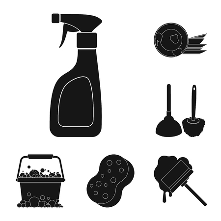 Cleaning and maid black icons in set collection for design. Equipment for cleaning bitmap symbol stock web illustration. Imagens - 111236330