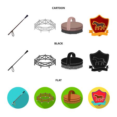 Aviary, whip, emblem, hippodrome .Hippodrome and horse set collection icons in cartoon,black,flat style bitmap symbol stock illustration web. Stock Photo