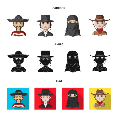 A mexican, a jew, a woman from the middle east, an american. The human race set collection icons in cartoon,black,flat style bitmap symbol stock illustration web.