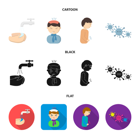 Under a tap with water wash their hands, the patient with a hot-water bottle with ice on his head in a scarf, a man has abdominal pain, viruses, microbes. Sick set collection icons in cartoon,black,flat style bitmap symbol stock illustration web.
