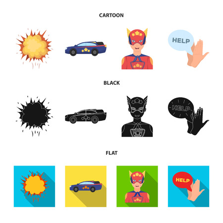 Explosion, fire, smoke and other web icon in cartoon,black,flat style. superforce, cry, icons in set collection.