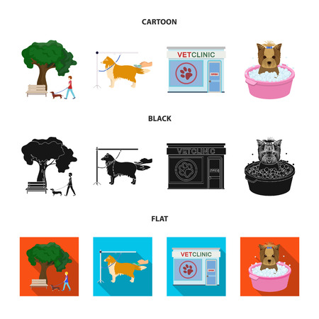 Walking with a dog in the park, combing a dog, a veterinarian office, bathing a pet. Vet clinic and pet care set collection icons in cartoon,black,flat style bitmap symbol stock illustration web.