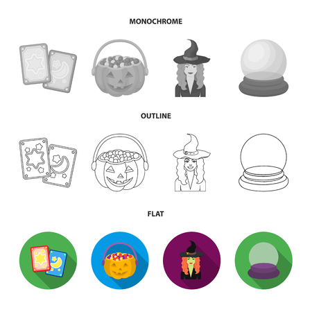 Tarot cards, holiday halloween, magician in a hat, crystal ball. Black and white magic set collection icons in flat,outline,monochrome style bitmap symbol stock illustration web. Stock Photo
