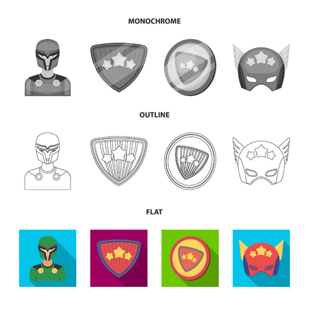 Man, mask, cloak, and other web icon in flat,outline,monochrome style.Costume, superforce, icons in set collection. Stock Photo