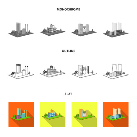 Processing factory,metallurgical plant. Factory and industry set collection icons in flat,outline,monochrome style isometric bitmap symbol stock illustration web. Фото со стока - 111236528