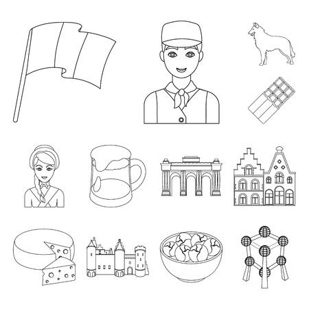 Country Belgium outline icons in set collection for design.Travel and attractions Belgium bitmap symbol stock web illustration.