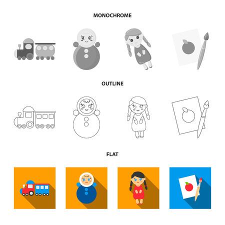 Train.kukla, picture.Toys set collection icons in flat,outline,monochrome style bitmap symbol stock illustration web. Reklamní fotografie